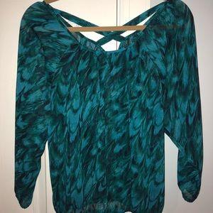 Express blue/green designed blouse